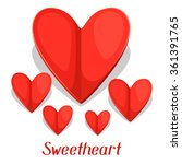 greeting card with paper hearts.... | Shutterstock .eps vector #361391765