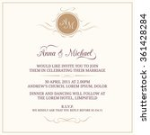 wedding invitation with monogram | Shutterstock .eps vector #361428284