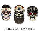 Three Sugar Skulls With Hair...
