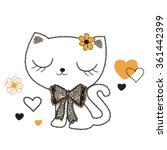 Stock vector cute cat on white background vector illustration 361442399