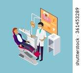 isometric dentist office during ... | Shutterstock . vector #361453289