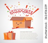 cardboard box with surprise... | Shutterstock .eps vector #361456109