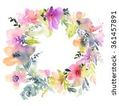 greeting card with flowers.... | Shutterstock . vector #361457891