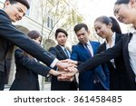 group of business people hand... | Shutterstock . vector #361458485