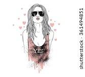 Girl Kiss  Fashion Illustration