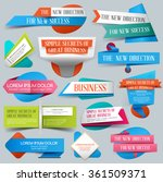 Set of origami banners for business, sale and discount