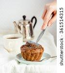 vegan muffins with carob  honey ...   Shutterstock . vector #361514315