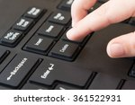 the index finger presses the... | Shutterstock . vector #361522931
