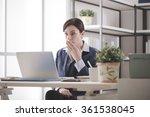 young businesswoman having... | Shutterstock . vector #361538045