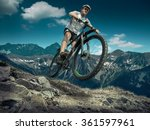 man in helmet and glasses stay... | Shutterstock . vector #361597961