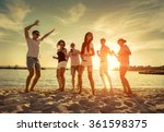 friends funny dance on the... | Shutterstock . vector #361598375