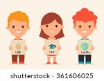 cute cartoon kids holding... | Shutterstock .eps vector #361606025