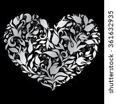 floral heart on silver...   Shutterstock .eps vector #361632935