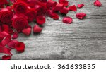 Stock photo roses on rustic wooden board valentines day background 361633835
