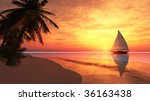 sailboat and sunset | Shutterstock . vector #36163438