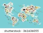 cartoon animal world map for... | Shutterstock . vector #361636055