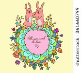 cute doodle card with bunnies... | Shutterstock .eps vector #361660799