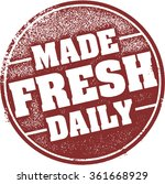 made fresh daily rubber stamp | Shutterstock .eps vector #361668929