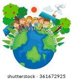 children standing around the... | Shutterstock .eps vector #361672925