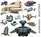 different design of spaceships... | Shutterstock .eps vector #361672964