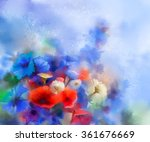 Watercolor Red Poppy Flowers ...