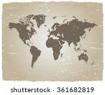 vector grunge world map.vintage ... | Shutterstock .eps vector #361682819