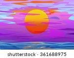 Big Sun And Sea In Evening