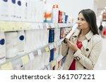 beautiful woman buying body... | Shutterstock . vector #361707221