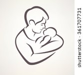 father and baby isolated vector ... | Shutterstock .eps vector #361707731