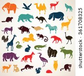 Stock vector big set of african and european animals silhouettes in cartoon style 361708325