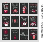 collection of 12 cute card... | Shutterstock .eps vector #361710911
