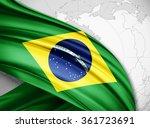 brazil  flag of silk with... | Shutterstock . vector #361723691