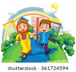 muslim couple holding hands... | Shutterstock .eps vector #361724594