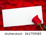 Blank Card With Red Rose On A...