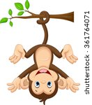 cute baby monkey hanging on tree | Shutterstock .eps vector #361764071