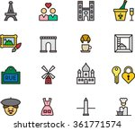 paris   france outline icons | Shutterstock .eps vector #361771574