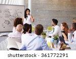 hispanic businesswoman leading... | Shutterstock . vector #361772291