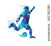 soccer player. spray paint on a ... | Shutterstock .eps vector #361781285
