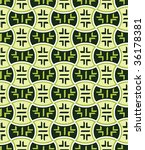 Retro japanese seamless pattern in green mood - stock vector