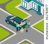 family moving from house to... | Shutterstock .eps vector #361783877