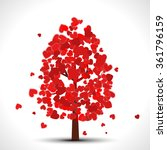 valentine tree with red falling ... | Shutterstock .eps vector #361796159