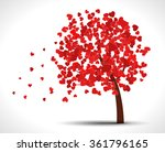 valentine tree with red hearts... | Shutterstock .eps vector #361796165