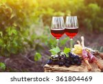 Two Glasses Of Rose Wine With...