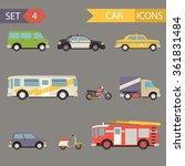 retro flat car icons set  | Shutterstock . vector #361831484