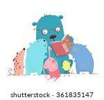 bear reading book for group of... | Shutterstock .eps vector #361835147