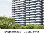facade of tall building full of ... | Shutterstock . vector #361835945