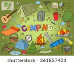 camping design colorful set...   Shutterstock . vector #361837421