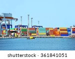 port cargo crane and container... | Shutterstock . vector #361841051