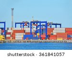port cargo crane and container... | Shutterstock . vector #361841057