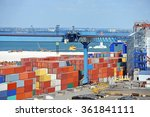 cargo container  pipe and grain ... | Shutterstock . vector #361841111